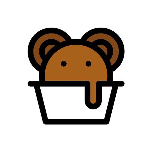 Vettore della tazza del gelato, profilo editabile dell'icona riempito dolci