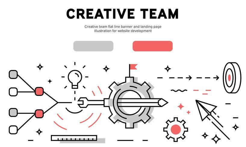 Creative team flat line banner and landing page. Illustration for website development