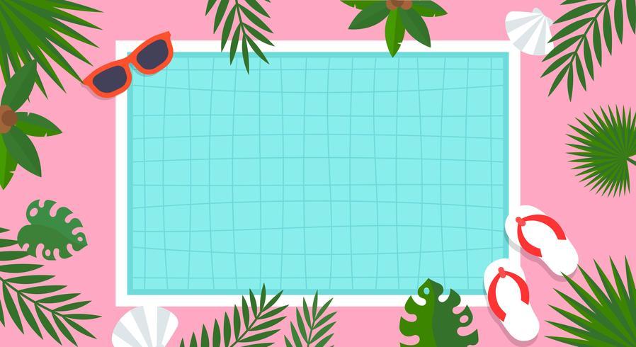 Vacaciones de verano, ilustración de vector de cartel de piscina
