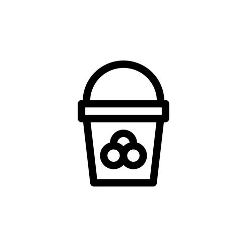 Ice cream bucket vector illustration, Sweets line style icon