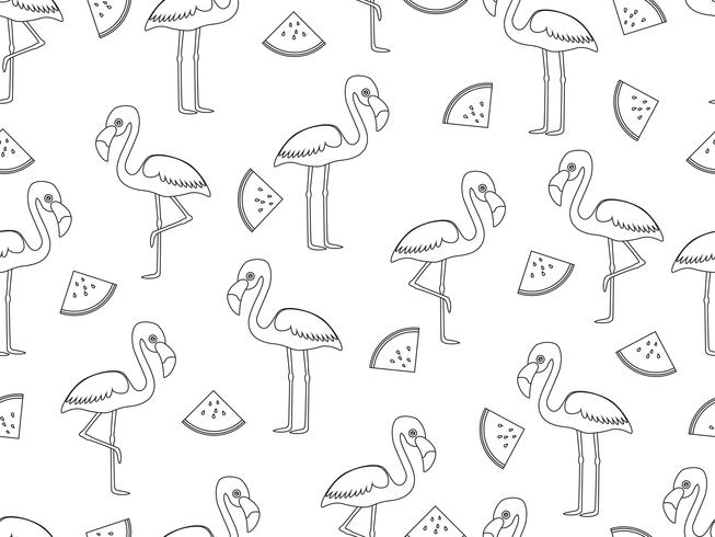 Seamless pattern of flamingo with slice watermelon doodle style on white background - Vector illustration