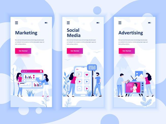 Conjunto de kit de interfaz de usuario de pantallas incorporadas para marketing, redes sociales, publicidad, concepto de plantillas de aplicaciones móviles. UX moderno, pantalla de interfaz de usuario para el sitio web móvil o sensible. Ilustracion vector