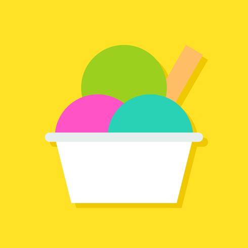 Ice cream cup vector illustration, Sweets flat style icon