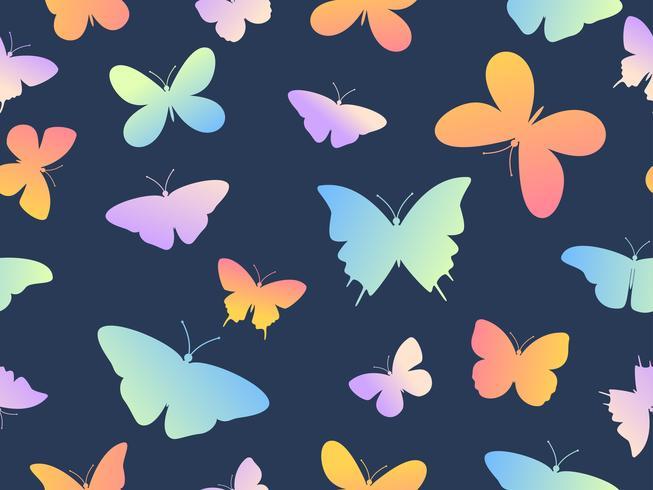 Vector ilustração sem costura colorida borboleta fundo