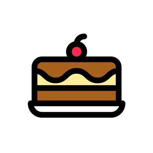 Vetor de bolo de sorvete, contorno de ícones preenchidos doces editável