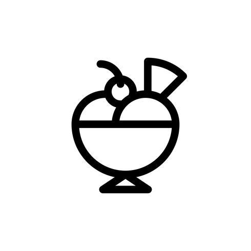 Ilustración de vector de helado sundae, icono de estilo de línea de dulces