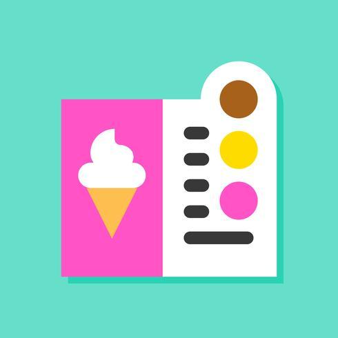 Illustrazione di vettore del menu del gelato, icona piana di stile