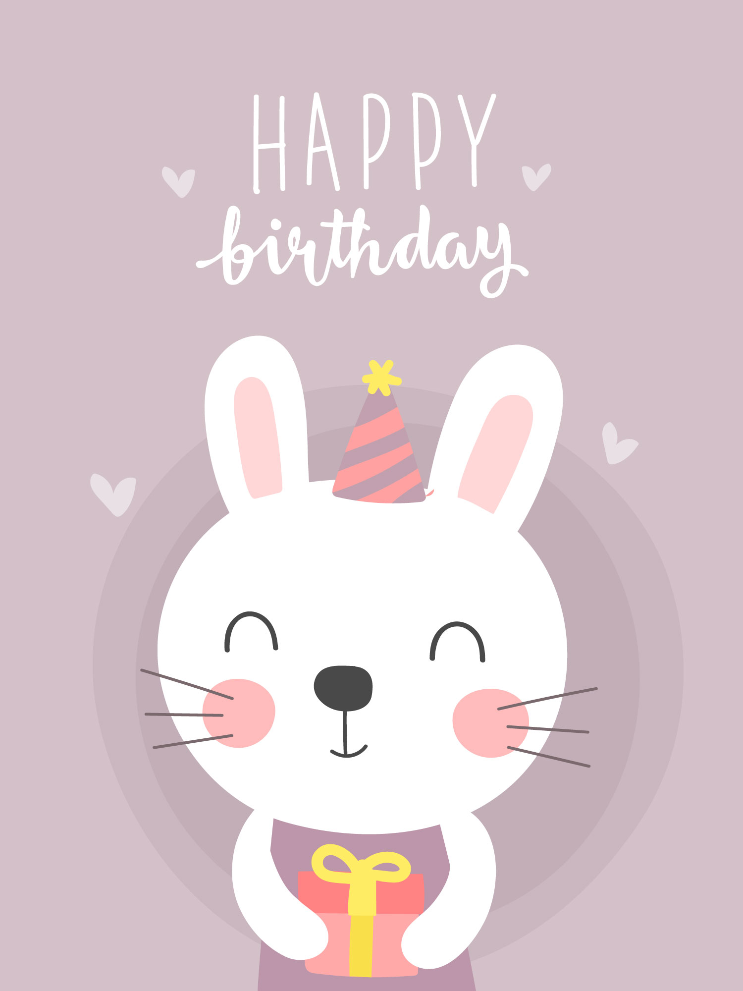 Cute Bunny Birthday Greeting Card 559029 Vector Art at ... (1500 x 2000 Pixel)