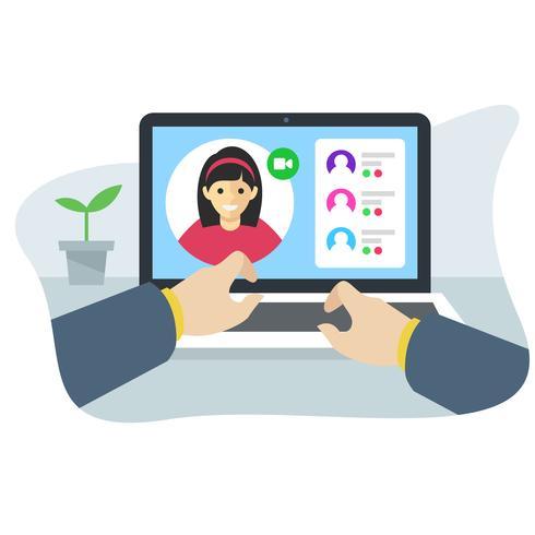 concetto di interfaccia dell'applicazione conferenza online vettore