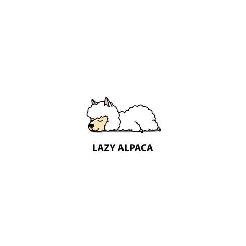 Icona di sonno pigro alpaca, logo design, illustrazione vettoriale