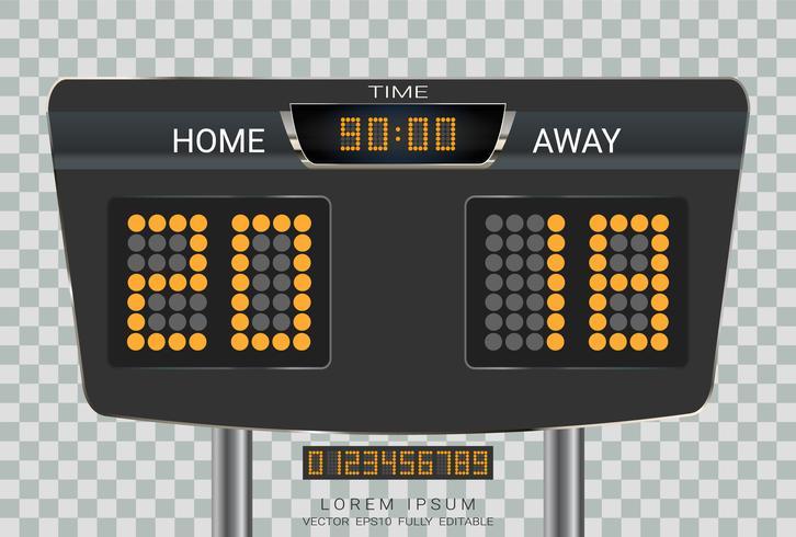 Tabellone segnapunti digitale, calcio sportivo e partita di calcio Home Versus Away.