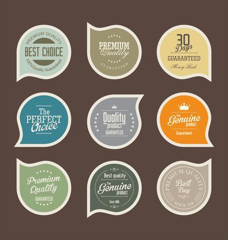 Colección de pegatinas y etiquetas de insignias modernas. vector