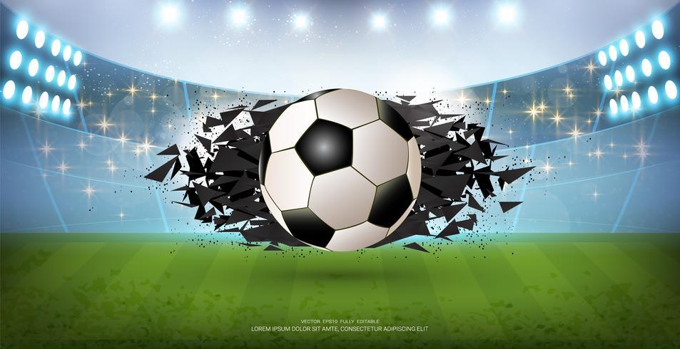 Fondo della bandiera di sport, elemento realistico della palla di progettazione grafica 3d con lo spazio della copia per il modello del modello di presentazione. vettore