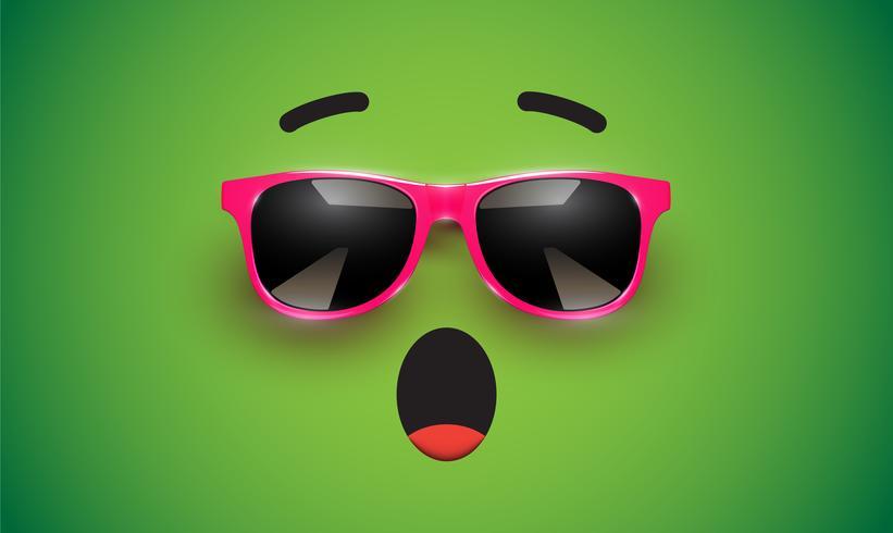 Emoticon colorido alto detiled con gafas de sol, ilustración vectorial