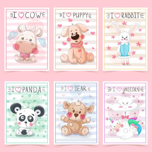 Set teddy animals. Idea for greeting card. vector