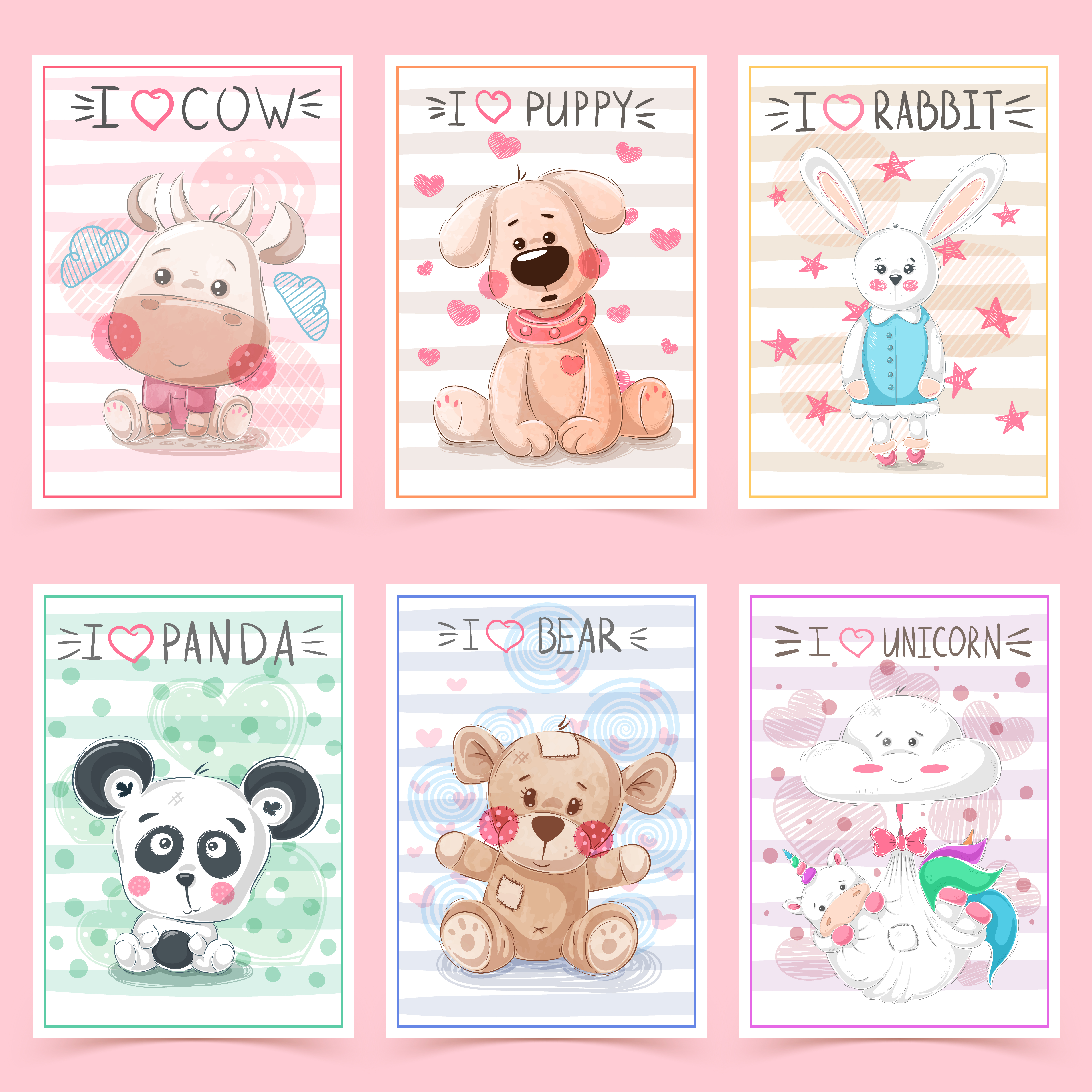 Set teddy animals. Idea for greeting card. - Download Free ...