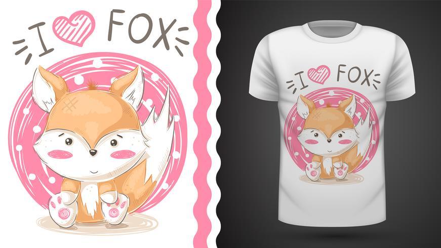 Cute fox - idea for print t-shirt. vector