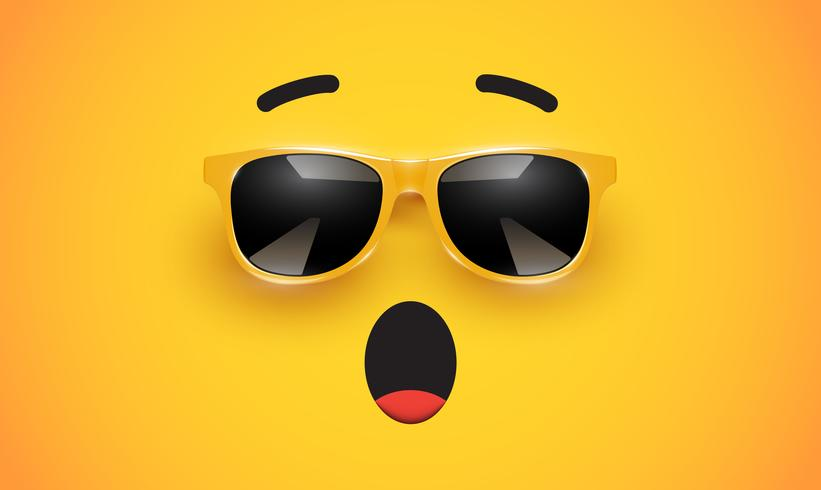 Hoher detiled bunter Emoticon mit Sonnenbrille, Vektorillustration
