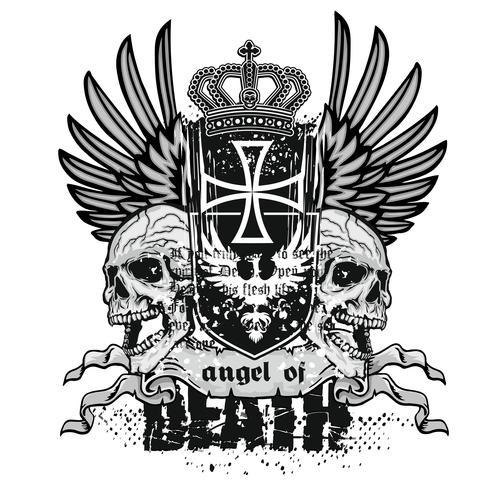 cráneo grunge escudo de armas vector