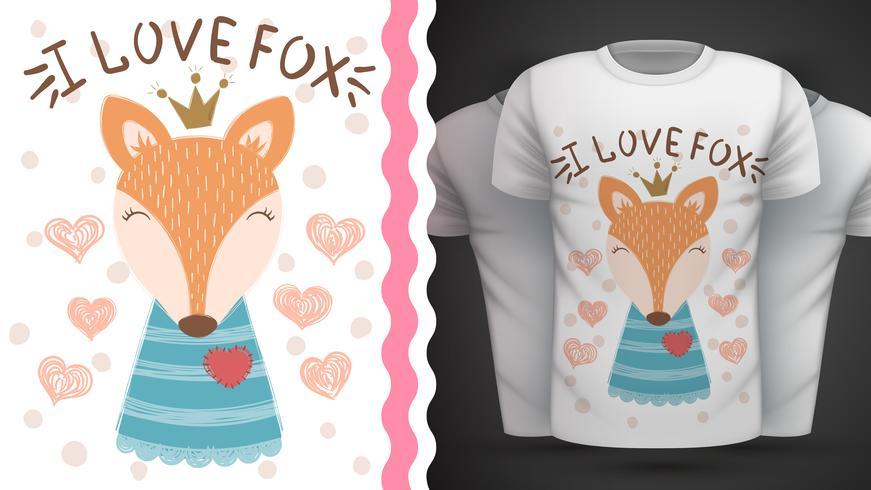 Renard mignon - idée d'un t-shirt imprimé. vecteur