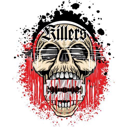 cráneo grunge escudo de armas