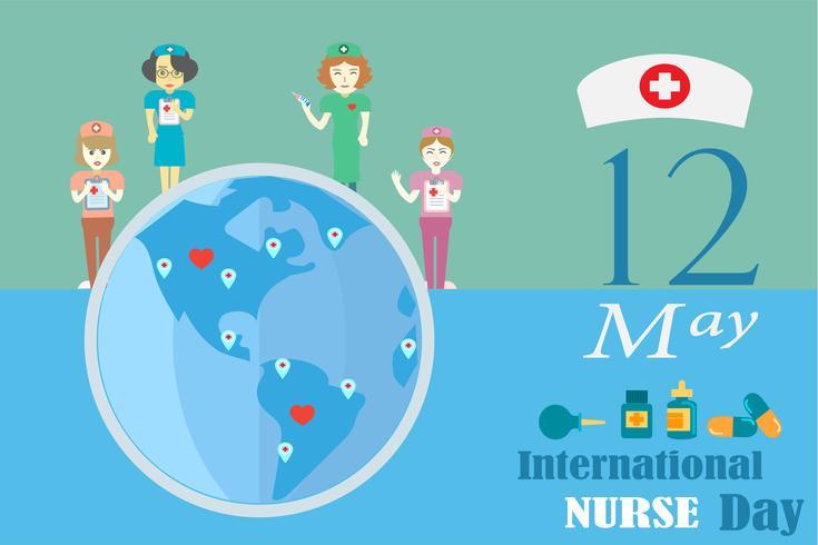 Internationell sjuksköterska dag i maj varje år design av vektor i tonaltonskoncept