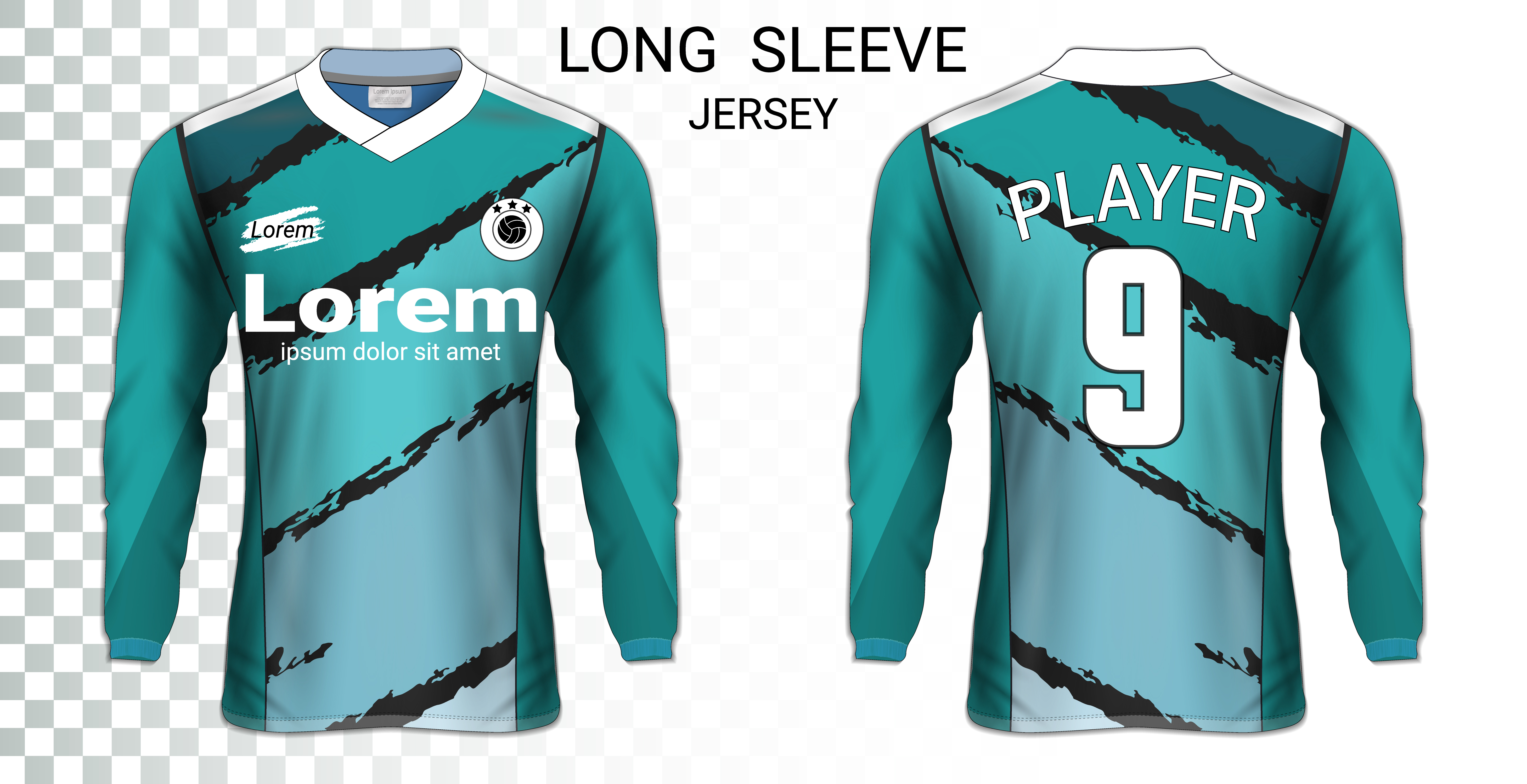 vector long sleeve soccer jerseys t shirts mockup template graphic design for football uniforms