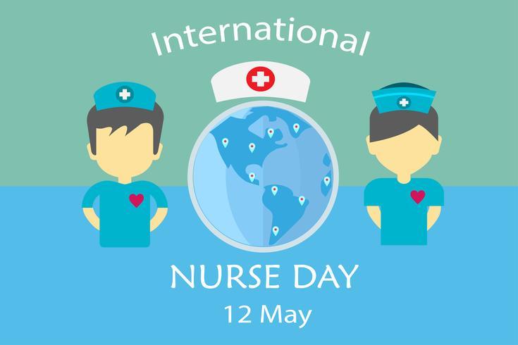 Día internacional de la enfermera, en mayo, cada año, diseño por vector en el concepto de tono de tonalidad.