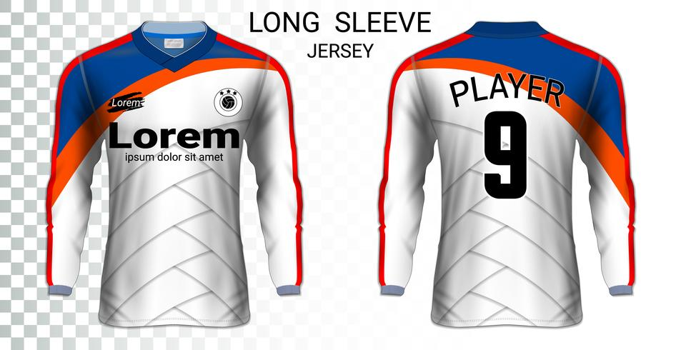 Long sleeve soccer jerseys t-shirts mockup template, Graphic design for football uniforms. vector