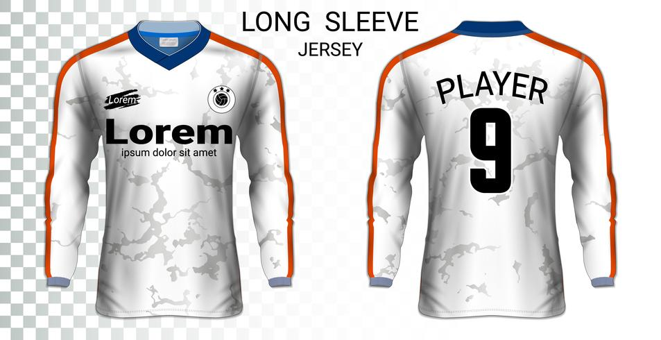 Camiseta de manga larga camiseta de fútbol maqueta plantilla, diseño gráfico para uniformes de fútbol.