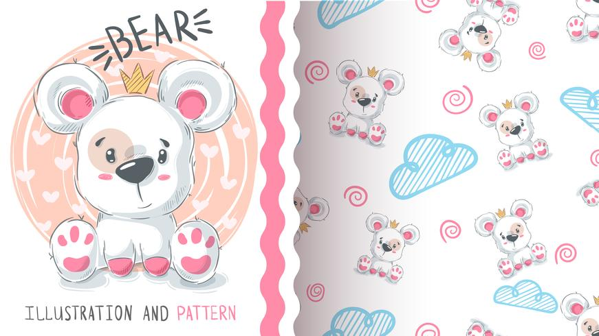 Bear with heart - seamless pattern. vector