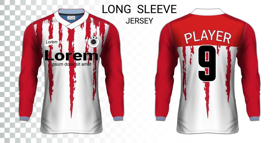 Camiseta de manga larga camiseta de fútbol maqueta plantilla, diseño gráfico para uniformes de fútbol. vector