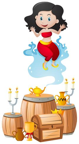 Genie and the lamp in treasure pile vector