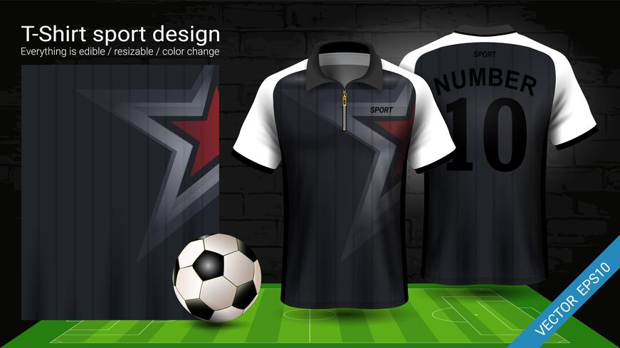 Polo t-shirt med blixtlås, Fotbollsjacka sport mockup mall för fotbolls kit eller aktiva uniform för ditt lag. vektor