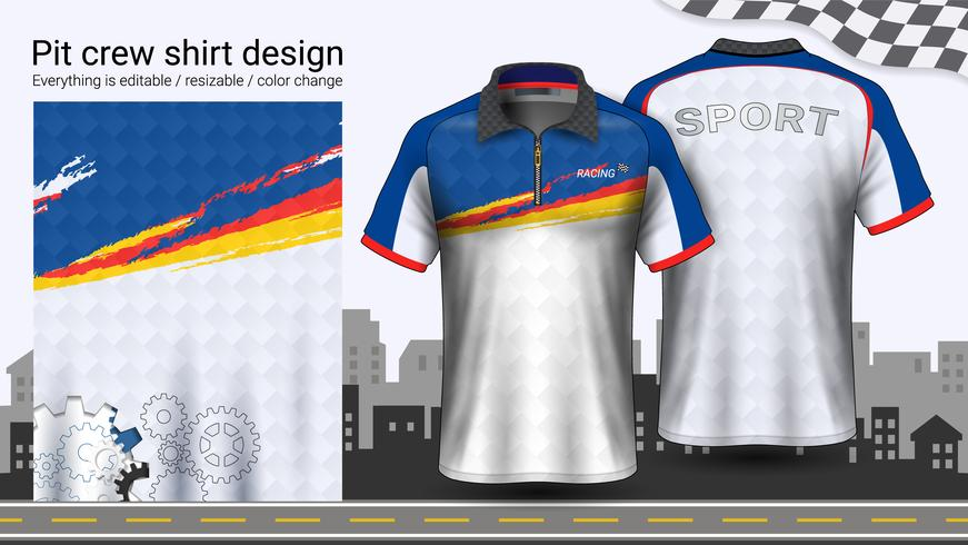 Camiseta de polo con cremallera, plantilla de maquetas de uniformes de carreras para ropa deportiva y ropa deportiva.