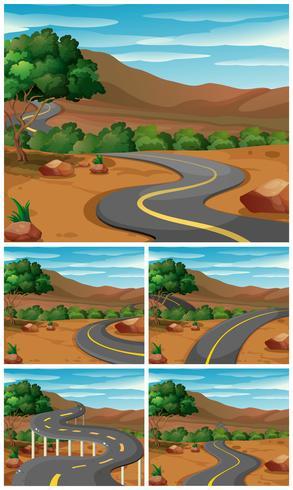 Cinque scene con la strada per le montagne