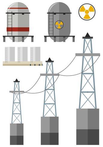Energie eingestellt mit Kraftstofftank und Stromkabeln