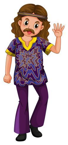 Hippie homem em traje roxo
