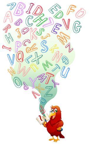 Papegaai die Engels boek leest