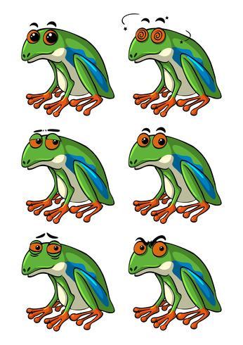 Gröna grodor med olika ansiktsuttryck