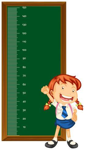 Cuadro de medidas de altura con niña