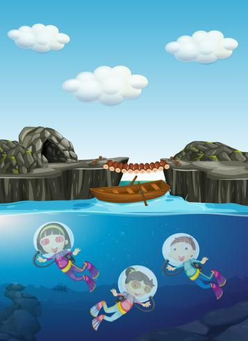 Kids diving under the water vector