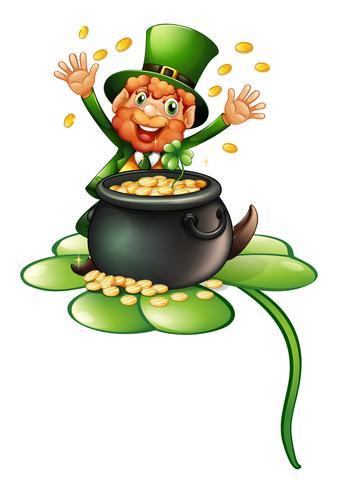 Un anciano en un atuendo verde con una olla de monedas