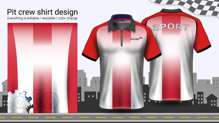 Polo t-shirt with zipper, Racing uniforms mockup template for Active wear and Sports clothing.