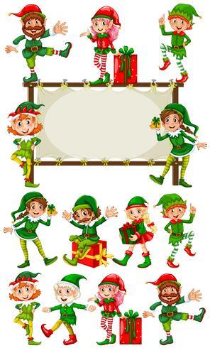 Plantilla de borde con elfos de navidad