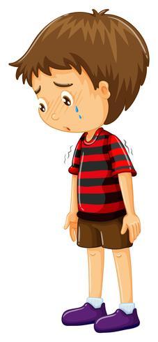 Menino triste com a cabeça baixa