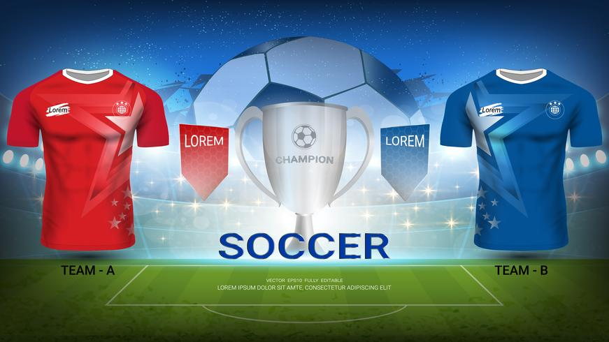 Football tournament template, Trophy Winner with Soccer jersey mock-up team A vs team B. vector