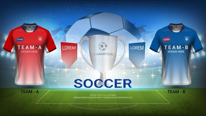 Modelo de torneio de futebol, vencedor do troféu com equipe de mock-up de jérsei de futebol A vs equipe B. vetor