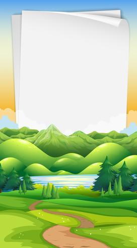 plantilla de papel con fondo de parque vector
