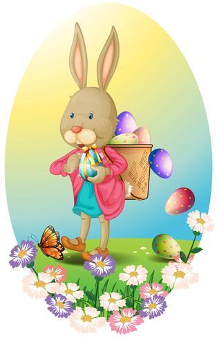 Un lapin portant un sac d'oeufs de Pâques